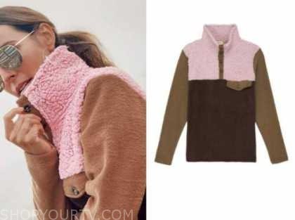 lilliana vazquez, celebrity fashion, pink and brown fleece sweater