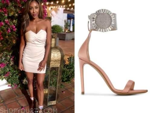 tayshia adams, the bachelorette, rhinestone pink sandals
