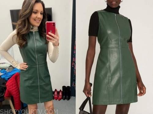 laura tobin, good morning britain, green leather dress
