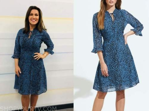 susanna reid, good morning britain, blue leopard dress