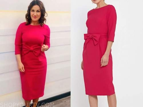 susanna reid, pink bow dress, good morning britain