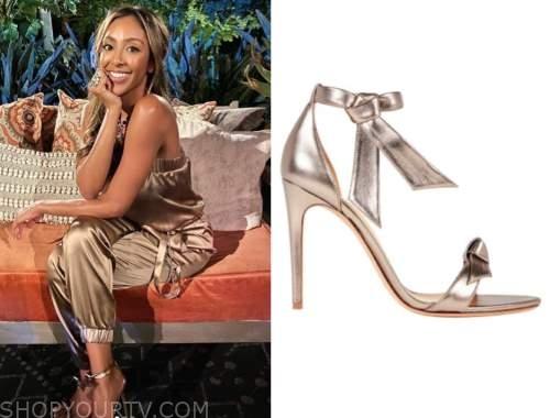 tayshia adams, the bachelorette, gold knot sandals