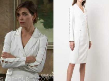 victoria newman, amelia heinle, white blazer dress, the young and the restless