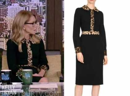 live with kelly and ryan, kelly ripa, black and leopard dress