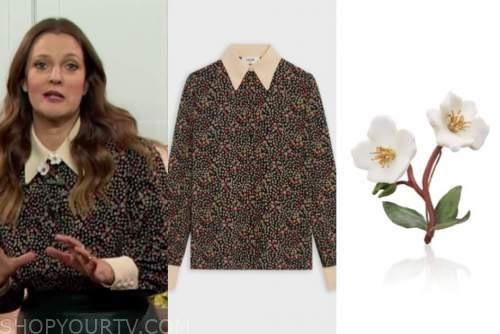 drew barrymore, drew barrymore show, floral shirt, floral brooch