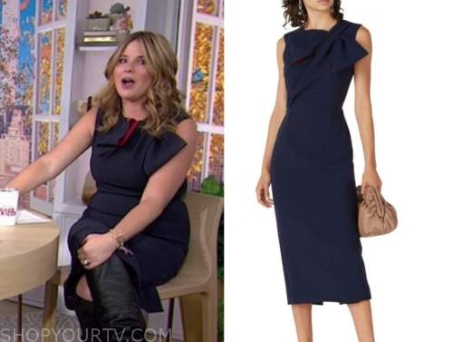 jenna bush hager, the today show, navy blue and red bow sheath dress
