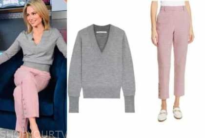 amy robach, good morning america, grey v-neck sweater, pink plaid pants