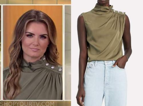 jillian mele, fox and friends, green mock neck button shoulder top