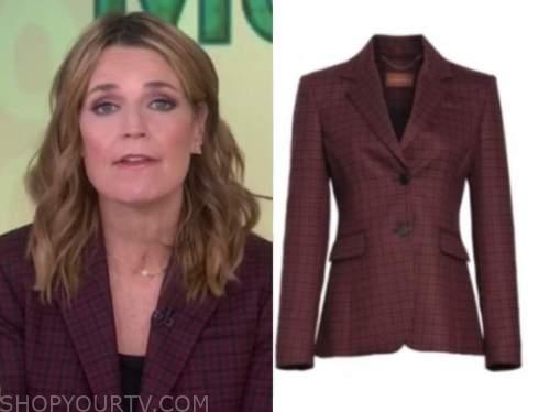 savannah guthrie, the today show, burgundy check blazer