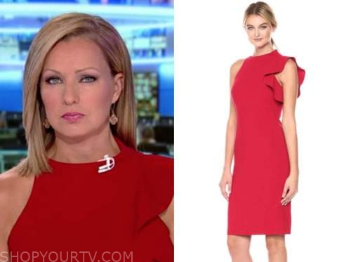 sandra smith, red ruffle dress, america's newsroom