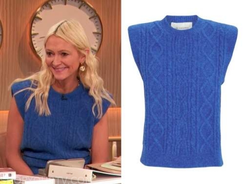 zanna roberts rassi, the drew barrymore show, blue cable knit short sleeve sweater