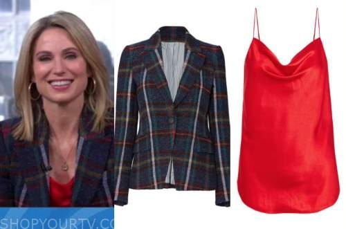amy robach, plaid blazer, red camisole, gma3, good morning america
