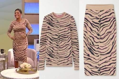 tamron hall, tamron hall show, zebra dress, skirt and sweater