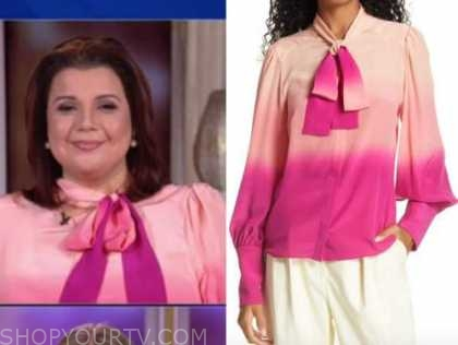 ana navarro, the view, pink ombre tie neck blouse