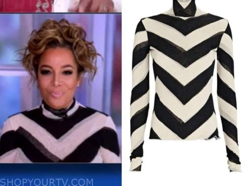 sunny hostin, black and white turtleneck, the view