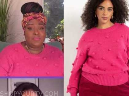 loni love, the real, pink pom pom sweater