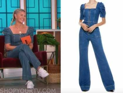 amanda kloots, the talk, denim zip-front jumpsuit