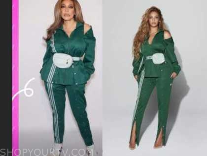 wendy williams, the wendy williams show, green cutout track jacket and pants