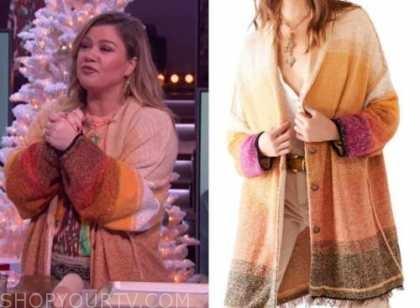 kelly clarkson, the kelly clarkson show, dip dye ombre long cardigan sweater