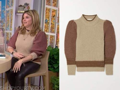 jenna bush hager, brown and beige colorblock sweater, the today show, hoda and jenna