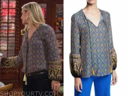 sharon newman, sharon case, the young and the restless, metallic tassel blouse