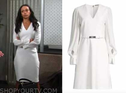 mishael morgan, amanda sinclair, white belted dress, the young and the restless