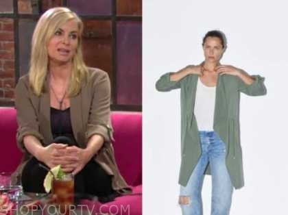 ashley abbott, the young and the restless, eileen davidson, green flowy coat jacket