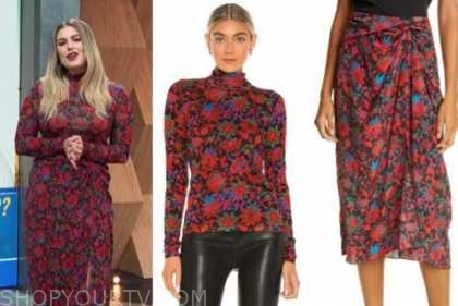 carissa culiner, red floral turtleneck dress, top and skirt, E! news, daily pop