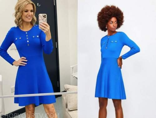 charlotte hawkins, blue gold button dress, good morning britain