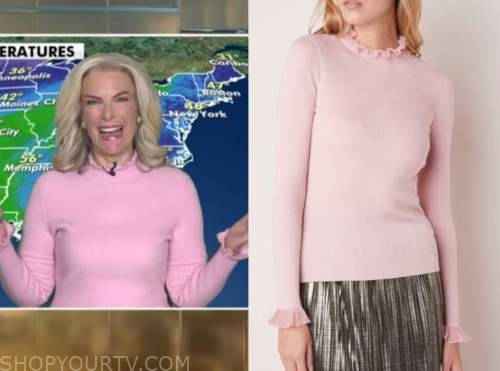 janice dean, fox and friends, pink ruffle turtleneck