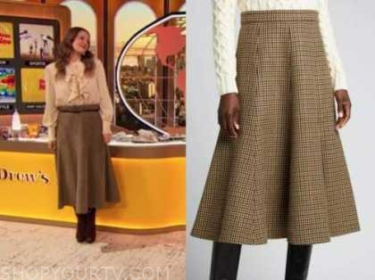 drew barrymore, drew barrymore show, brown houndstooth midi skirt