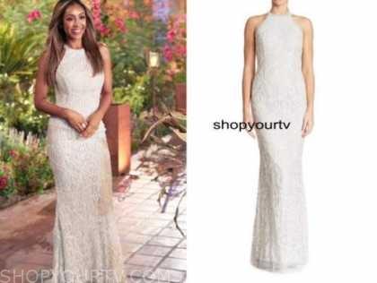 tayshia adams, the bachelorette, white beaded halter gown