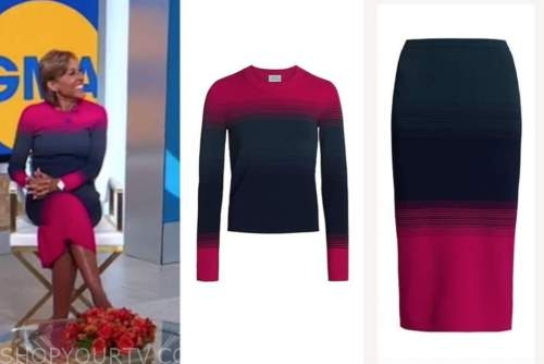 robin roberts, pink ombre sweater and skirt, good morning america