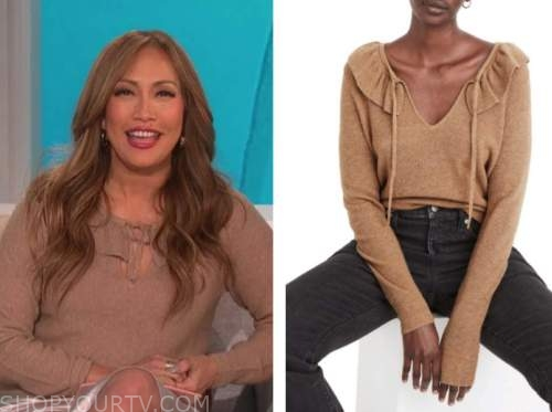 carrie ann inaba, the talk, brown ruffle tie neck sweater