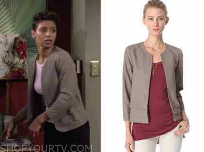 elena dawson, the young and the restless, grey leather jacket, brytni sarpy