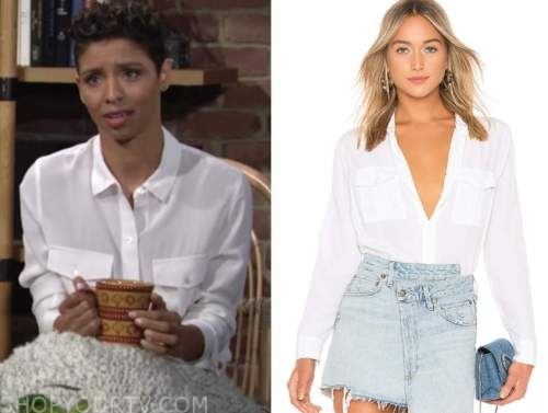 elena dawson, brytni sarpy, white shirt, the young and the restless