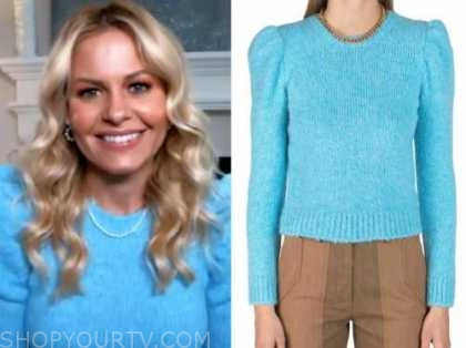 candace cameron bure, blue puff sleeve sweater