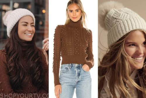 caila quinn, the bachelor, brown pom sweater, beige beanie hat