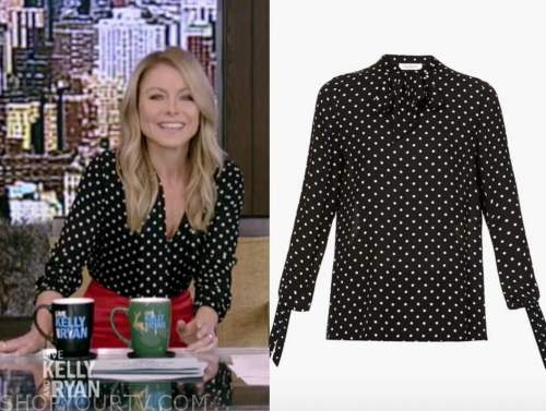 kelly ripa, black polka dot tie neck blouse, live with kelly and ryan