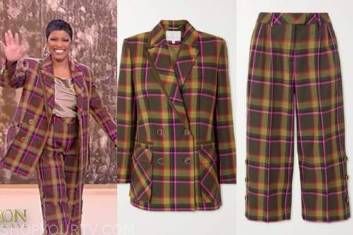 tamron hall, tamron hall show, plaid double breasted blazer and pant suit