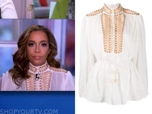 sunny hostin, the view, white embroidered blouse