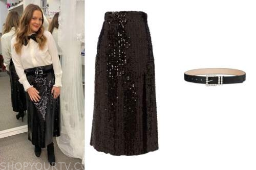 drew barrymore, black sequin skirt, drew barrymore show, pearl belt