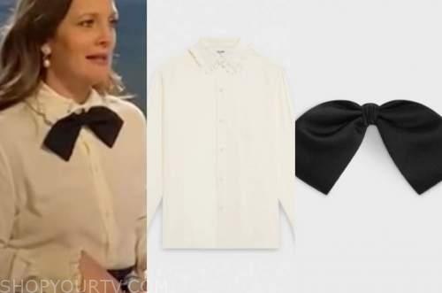 drew barrymore, drew barrymore show, ivory ruffle blouse, black bow tie