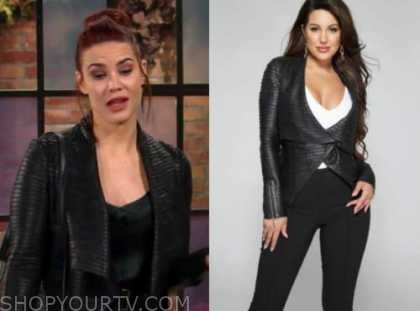 sally spectra, black leather jacket, the young and the restless, courtney hope