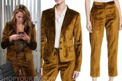 the young and the restless, summer newman, hunter king, velvet blazer and pant suit