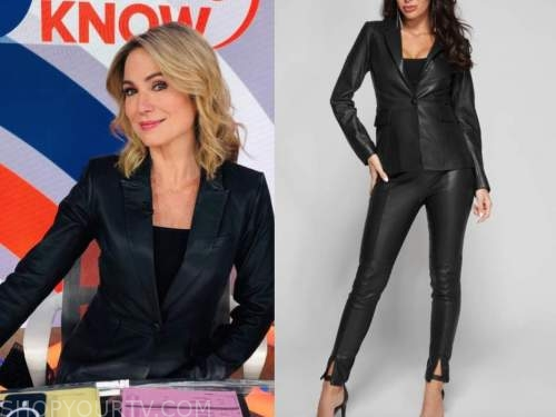 amy robach, good morning america, gma3, black leather blazer and pant suit