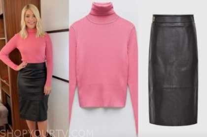this morning, holly willoughby, pink turtleneck, black leather skirt