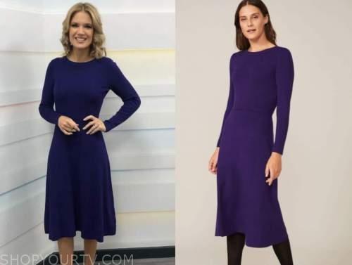 charlotte hawkins, good morning britain, purple midi dress