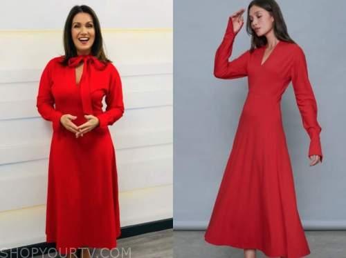 susanna reid, red tie neck midi dress, good morning britain