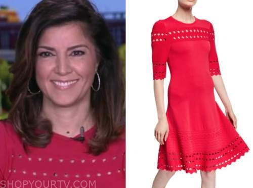 rachel campos duffy, fox and friends, pink knit cutout dress